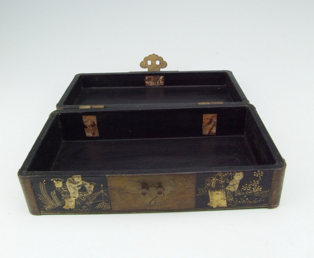 antique lacquer wooden jewelry box with pattern ebay