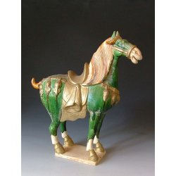 Tang Dynasty Tri-colored Pottery Horse