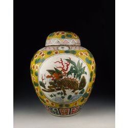 Qing Dynasty KangXi Reign Five-colored Porcelain Lidded Pot