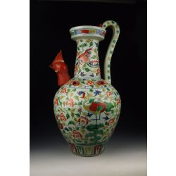 Large Five-colored Porcelain Ewer With Cock-head Spout Design And Phoenix Pattern Ming Dynasty XuanDe Imperial Ware