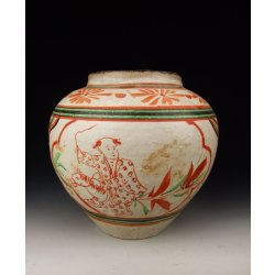 Yuan Dynasty Cizhou Ware Red&Green Coloring Porcelain Olive-Fruit shaped Vase with Boy Pattern