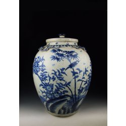 Qing Dynasty KangXi Reign Blue Underglaze Porcelain Lidded Pot with Lizard Applique Design(B&W)