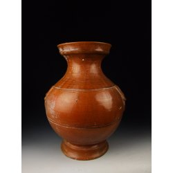 Han Dynasty Red Glaze Pottery Zun Vase