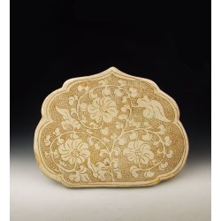 Song Dynasty Cizhou Ware Porcelain Head-rest With Pearl Background And Flower Pattern