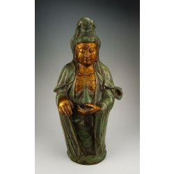 Song Dynasty Longquan Ware Gilt Porcelain Kuanyin Bust