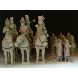 Ming Dynasty Set of Tri-colored Pottery Guard Of Honor