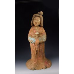 Tang Dynasty Painted Pottery Royal Lady Statue the Funerary Object
