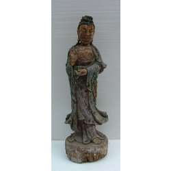 Ming Dynasty Painted Carved Wooden Kuanyin Buddha Statue