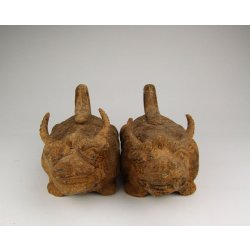 Pair of Han Dynasty Brown Glaze Pottery Beasts