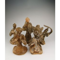 Han Pottery | Han Dynasty Set of Brown Glaze Pottery Figurines (5 pieces)