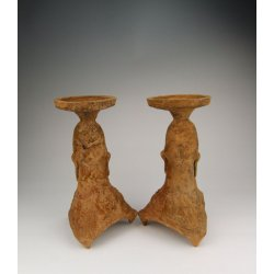 Pair of Brown Glaze Pottery Oil Lamps Han Dynasty