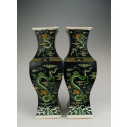 Pair Of Plain Tri-colored Porcelain Gu-shaped Vases with Dragon Pattern Qing Dynasty KangXi Imperial Ware
