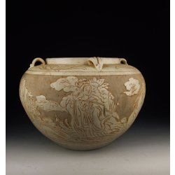 Song Dynasty Cizhou Ware White Glaze Sgraffiato Porcelain Pot With Incised Eight Immortal Beings Pattern