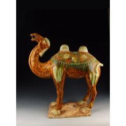 Tang Dynasty Tri-colored Pottery Camel Statue