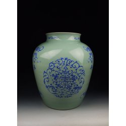 Qing Dynasty YongZheng Reign Bean Green and Blue Underglaze Decoration Porcelain Pot