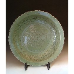 Ming Dynasty Longquan Ware Porcelain Plate With Flower Pattern