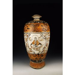 Yuan Dynasty Cizhou Ware Brown Coloring Porcelain Vase With the Legend Of The Monkey King Motif Pattern