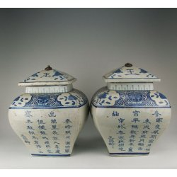 Pair Of Blue Underglaze Decoration Porcelain Lidded Jars with Poem Ming Dynasty Wanli Reign