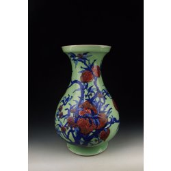 Qing Dynasty YongZheng Reign Bean Light-green Glaze Vase with Blue&Red Underglaze Megranate Decoration