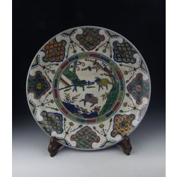 Ming Dynasty WanLi Reign Five-colored Porcelain Plate With Flower Pattern