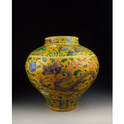 Fahua Ware | Ming Dynasty ZhengDe Reign Fahua Coloring Porcelain Pot with Dragon Pattern