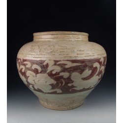Yuan Dynasty Red Underglaze Decoration Egg White Glazed Porcelain Pot With Flower Pattern