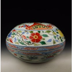 Ming Dynasty XuanDe Imperial Ware Five-colored Porcelain Food Vessel with Dragon&Kylin Pattern