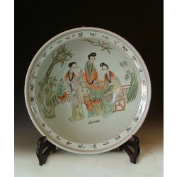 Qing Dynasty JiaQing Reign Five Colored Porcelain Bowl With beauties Pattern