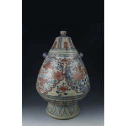 Yuan Dynasty Blue&Red Underglaze Porcelain Vase With Fish&Waterweed Pattern(B&R)