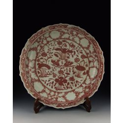 Ming Dynasty HongWu Reign Red Underglaze Mandarin Duck and Waterweed Decoration Porcelain Plate