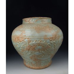 Yuan Dynasty Egg White Glazed Porcelain Zun Shaped Vase With Basso-relievo Dragon Pattern