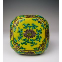 Ming Dynasty ZhengDe Imperial Ware Yellow&Green Coloring Porcelain Puff Box Or Rouge Box with Flower Pattern