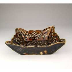 Song Dynasty Ding Ware Dark-brown Glaze Porcelain Square Dish With Flower Pattern