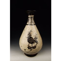Song Dynasty Jizhou Ware Porcelain Yuhuchun Vase With Bird Pattern