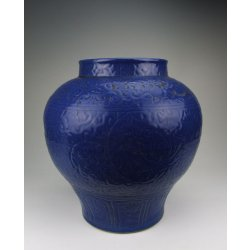 Ming Dynasty XuanDe Reign Sacrifice-blue Glazing Porcelain Zun Shaped Vase With Flower Pattern