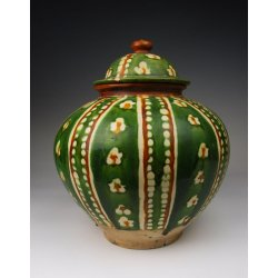 Tang Dynasty Tri-colored Pottery Pot With Stitched Football Pattern