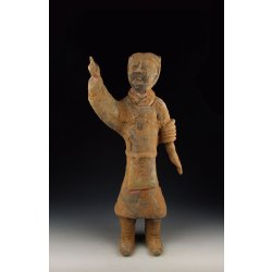 Han Dynasty Painted Gray-Pottery Military Official Statue