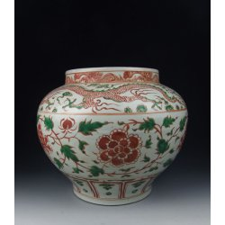 Ming Dynasty JiaJing Reign Red&Green Coloring Porcelain Pot With Peony Pattern