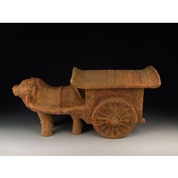 one Han Dynasty Painted Pottery Ox-Cart