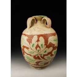 Liao Dynasty Brown&Green Coloring Pottery Vase with handles