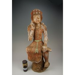 Tang Dynasty Painted Pottery Buddha Statue