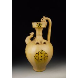 Tang Dynasty Xing-Ware White-glaze Pottery Cock-head Vase With Yellow Splash and Black Flower Design