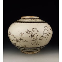Song Dynasty Cizhou Ware Porcelain Pot With Black Coloring Figures Pattern