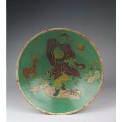 Song Dynasty Ding Kiln Green Glaze Gilt Painted Porcelain Bowl With Incised Demon-Killer Story Pattern and official Seal Mark
