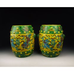 one Pair of Yellow&Green Coloring Kylin Pattern Porcelain Garden Stools (Decorative Article) Ming Dynasty ZhengDe Imperial Ware