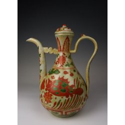 Ming Dynasty JiaJing Reign Red&Green Coloring Porcelain Vine Pot With Fish&Waterweed Pattern