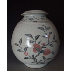 Yuan Dynasty Blue&Red Underglaze Porcelain Pot With Megranate Pattern(B&R)