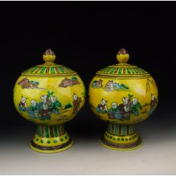 Pair Of Plain Tri-colored Coloring Porcelain Lidded Pots With Traditional Figures Pattern Ming Dynasty ZhengDe Imperial Ware