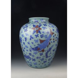 Qing Dynasty QianLong Reign Bean Light-Green Monochromatic Glaze Blue&Red Underglaze Decoration Porcelain Vase With Fish&Flower Pattern