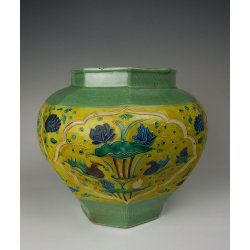 Yuan Dynasty Fahua Coloring Porcelain Pot With Mandarin Duck and Phoenix Pattern in Panel